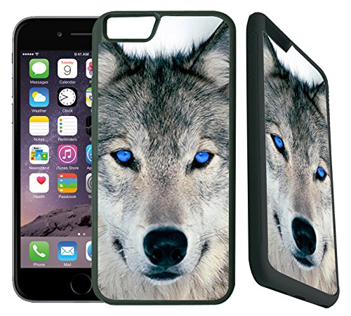 TeleSkins iPhone 6Plus/6S Plus Fall-Blau Eyed Wolf Face Wölfe-Ultra Langlebige Slim Dünn Passform und Hoher Schutz Gummi TPU Silikon Snap on Back Case/Cover [Nur für 14cm] - 6 Blau Otterbox-fälle Iphone
