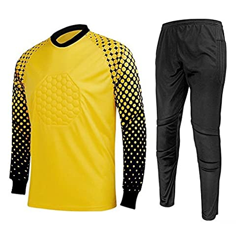 Zicac Mens Spring Winter Football Soccer Goalkeeper Suit Uniform Long Sleeve Tops Pants Outfit Adult Sport Cloth Casual Leisure T-Shirt (Black/Yellow, UK L (Asia Tag XL))