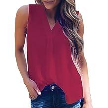 Camisetas Sin Mangas Mujeres❤️️Lonshell Tops de Gasa Camisa Blusa para Mujer Camisolas de Mujeres