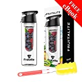 #9: Fruitalite® Fruit Infuser Water Bottle – 800ml + 125 Fruit Infusion Detox Water and Rapid Weight Loss Recipes BONUS eBook + Free Cleaning Brush for Easy Clean, flip top locking spout, premium quality smart leak proof Tritan BPA free plastic - 100% Eco-friendly design, sports sipper bottles, every sip with vitamin