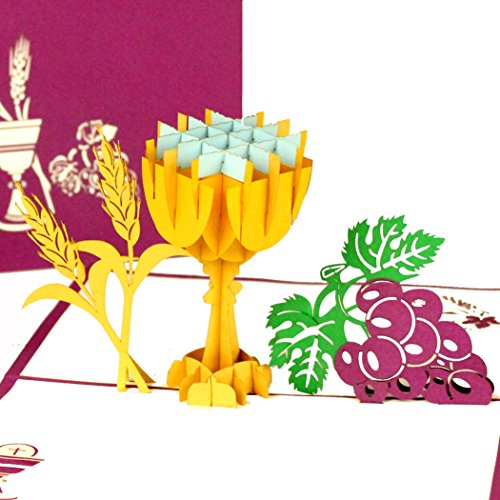 """3D Pop Up Karte zur Kommunion\""""Kelch & Trauben\"""" - Konfirmationskarte, Kommunionskarte - als kleines Geschenk, Geldgeschenk & Geschenkideen zur Erstkommunion, Konfirmation & Firmung für Junge & Mädchen"""