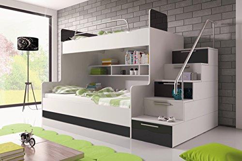 Furnistad Etagenbett Heaven | Kinder Stockbett mit Treppe und Bettkasten (Option rechts, Weiß + Schwarz) (Schwarze Etagenbett)