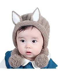 d68fb8410 Hosaire 1x Invierno Niño Niña Sombreros Hecho Punto Espesar Lindo del bebé  del Nuevo diseño Bola de Pelo de Lana Gorra de bebé Orejeras…