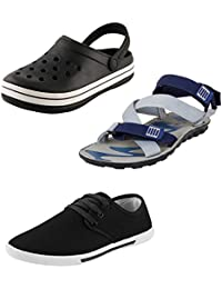Bersache Men Combo Pack Of 3 Sandal With Casual Shoes & Flip-Flops (10 UK)