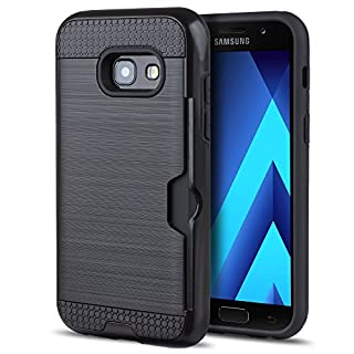 Moozy Stoßfest Hülle mit Kartenfach für Samsung A3 2017, Schwarz - Dual Layer Brushed Armor Case Handy Schutzhülle Doppelschicht Cover