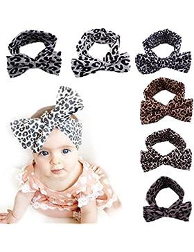 TININNA 6 Pcs Bebé Niñas Moda leopardo joyería Hairbands - Luxury torcedura libre del Conejo del arco del oído...