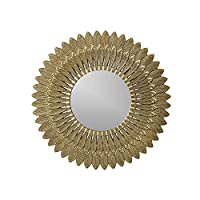 Melody Maison Large Gold Feathered Wall Mirror 50cm x 50cm