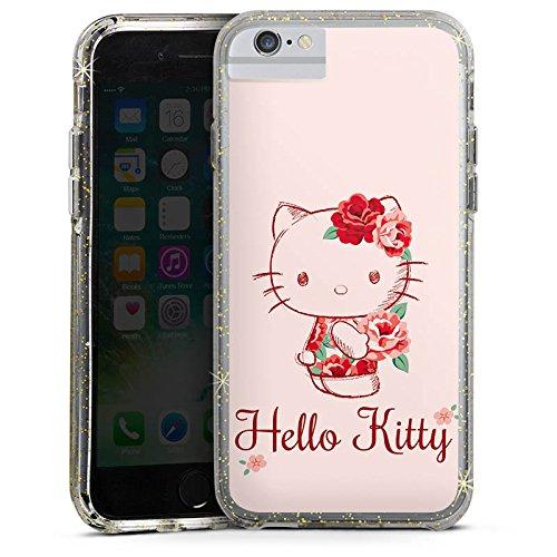 Apple iPhone 7 Plus Bumper Hülle Bumper Case Glitzer Hülle Hello Kitty Geschenke Merchandise Roses Bumper Case Glitzer gold