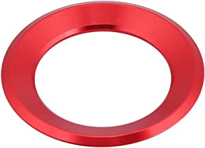 Keenso Auto Lenkrad Ring Aufkleber Lenkradabdeckung Trim Aluminium Chromlegierung Dekoration Aufkleber Rot Auto