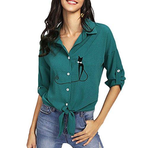 (Kleidung Damen Bestickt Katze Langarm Button Top MYMYG Frauen Bestickt Katze verknotet Hem Shirt Langarm Bluse Button Tops(Grün,EU:40/CN-XL))