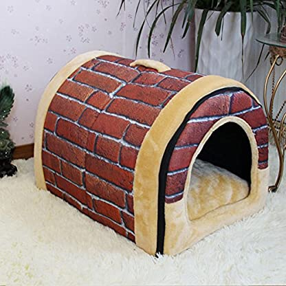FamilyMall Warm Soft Fleece Pet Dog Cat Bed House with Mat Soft Pad Mat 2