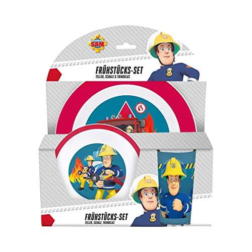p:os 25335 Kinder Frühstücksset, Feuerwehrmann Sam, bunt, 3 teilig Frühstück Becher-set