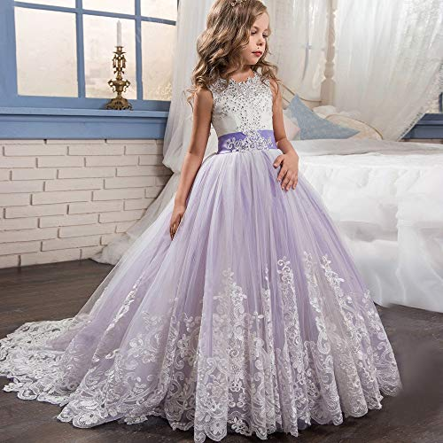 Peggy Gu Kostüm Cosplay Prinzessin Kinder Spitze Brautkleid Tutu Prinzessin Kleid Mädchen Geburtstag Klavier Kleid Fluffy Tüll Kleid Schicke Party (Farbe : Lila, Größe : 4-5T) (Kinder Klavier Kostüm)
