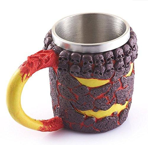 dingsheng Creative 3D Bronze Skull Lava Monster Tasse, doppelwandig Kunstharz Edelstahl Kaffee Tasse, Horror Decor Magma Drinkware caneca Copo, Halloween Cool Geschenk 02