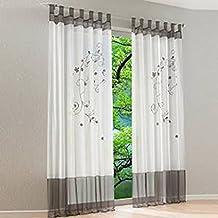 Souarts Grau Stickerei Transparent Gardine Vorhang Schlaufenschal Deko Fr Wohnzimmer Schlafzimmer Studierzimmer 140cmx225cm Nur Ein
