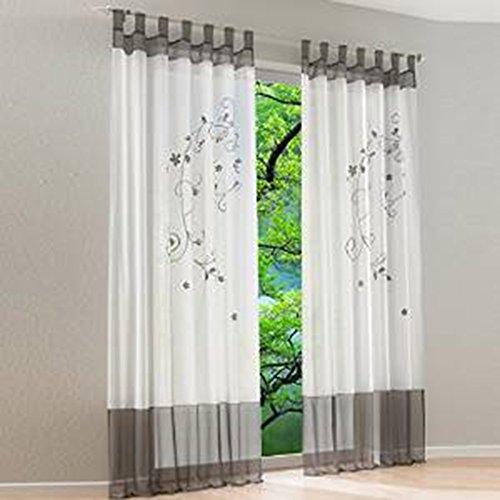 Souarts Grau Stickerei Transparent Gardine Vorhang Schlaufenschal Deko Für  Wohnzimmer Schlafzimmer Studierzimmer 140cmx225cm Nur Ein Schlaufenschal  Ohne ...