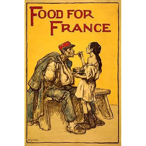 Estados Unidos de WW1 1914-1918 Propaganda comida para Francia 250gsm polarmk tarjeta del arte A3