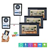 ZY 7-Zoll-3-Monitor-Kabel- / Wireless-WiFi-Video-Türsprechanlage an der Türklingelanlage mit 2 X IR-Cut HD 1000TVL-Kabelkamera Nachtsicht