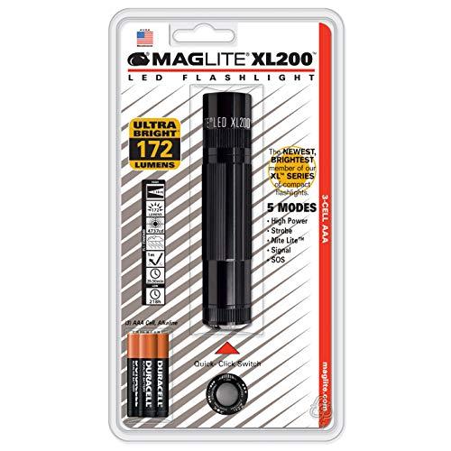 Glas 3-licht-arc (Mag-Lite XL200-S3016 LED-Taschenlampe XL200, 172 Lumen, 12 cm schwarz mit 5 Modi, Motion Control u. elektron. Multifunktionsschalter)