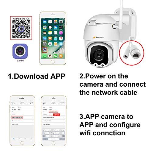 Jennov Überwachungskamera Aussen Innen HD 1080P Nachtsicht IP Dome Kamera Zwei-Wege Audio IP66 Wasserdicht 3,6 mm Objektiv Videoüberwachung Vorinstallierte 32G SD Karte mit Kostenloser App