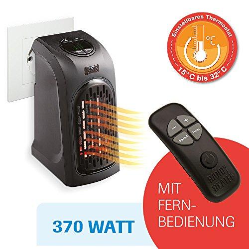 LIVINGTON Handy Heater 370 Watt inkl Fernbedienung Effektive Keramik Mini Heizung für die Steckdose das TV Original von Mediashop