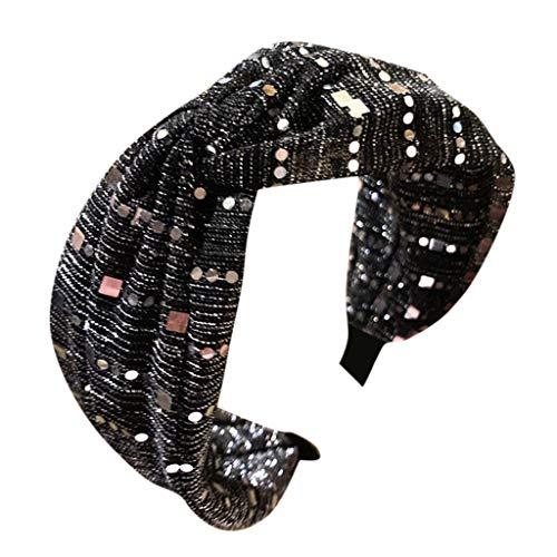SO-buts Frauen Kristall Stirnband Stoff Haarband Kopf Wickeln Haarband Zubehör, Haarschmuck Stoff Spitze Stirnband breite Seite Mitte Kreuz Knoten Bogen Stirnband Haarnadel(Dunkelgrau) -