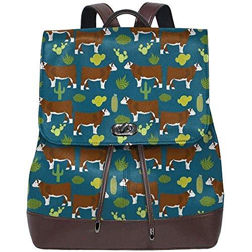 Johnsonh Hereford Kuh Rind und Kaktus Frauen Leder Rucksack für Reisen Shopping Casual Laptop Bookbag