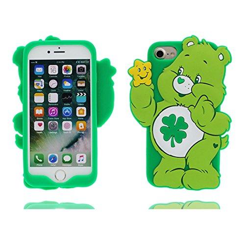 Custodia iPhone 7, iPhone 7 copertura 4.7, 3D orso bear verde Cartoon TPU Cover Gel morbido di nuovo disegno di durevole flessibile Shell Case, Graffi Resistenza agli urti verde