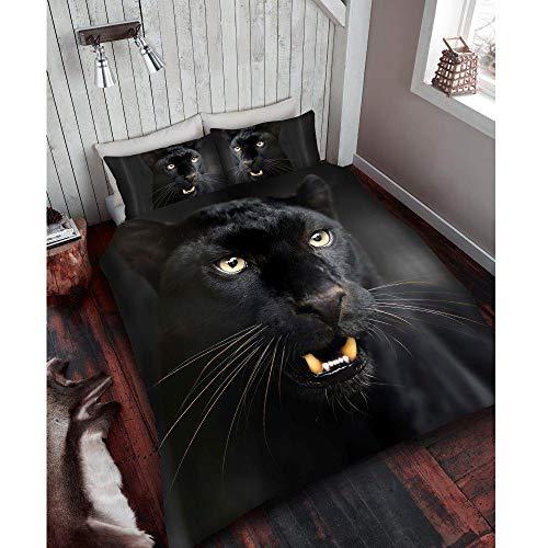Bettbezug-Set 3D-Tier-Print-Effekt-Quilt-Bettwäsche-Set Poly-Baumwolle neu (Schwarzer Panther drucken, Einzel) (Baumwolle König Bettwäsche-sets)