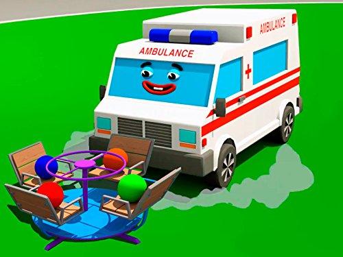 Lerne Farben zusammen mit weißer Krankenwagen - Bälle Spielplatz