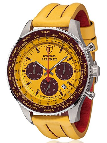 DETOMASO FIRENZE XXL Herren-Armbanduhr Chronograph Analog Quarz gelbes Lederarmband gelbes Zifferblatt DT1045-L