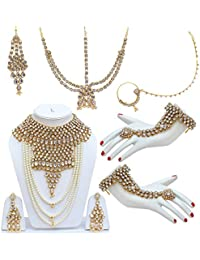 Lucky Jewellery Traditional White Color Alloy Bridal Set For Women And Girls
