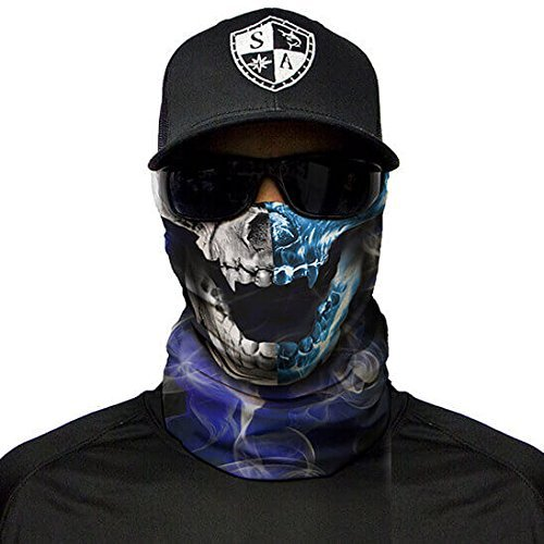 SA Fishing Face Shields ** 40+ Designs verfügbar ** Qualitäts Bandana / Multifunktionstuch / Schlauchtuch / Halstuch aus Stoff & SPF 40 - Face Masks von SA Company, Half and Half Skull