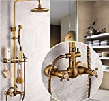 ROZIN Antique Brass Shower Faucet Set 8 Inch Shower Head Hand Shower Sprayer