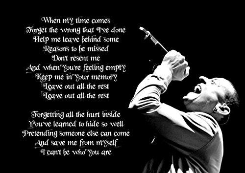 Salir Fuera todo el resto Chester Bennington de Linkin Park Póster de A4, gran, Rock, tapa, álbum, de metal, diseño, música, banda, mejor, foto, imagen, único, impresión, letras,