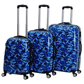 Beibye – Juego de 3 Maletas rígidas con candado numérico, diseño de Camuflaje Azul Azul M L XL