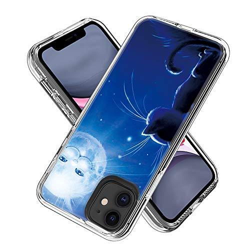 FAWUMAN Hülle für iPhone 11 (6.1inch),Durchsichtig Handyhülle Hybrid Rundumschutz (Hartplastik + Weich TPU Silikon Bumper) Ultradünne Stoßfest Schutzhülle Transparent Cover Case (Katze Sonne)