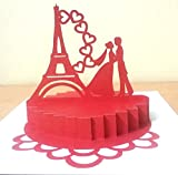 #5: KonkanMart 3D Popup Paris Love Anniversary Greeting Card Handmade Best Gift Husband Wife