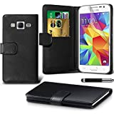 Galaxy J3 Case DN-TECHNOLOGY® SAMSUNG GALAXY J3 CASE BLACK HIGH QUALITY LEATHER BOOK CASE WITH FREE SCREEN PROTECTOR