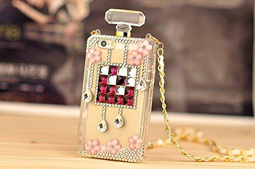 Pour Coque iPhone 5/5s , iNenk® TPU doux téléphone Shell perceuse gelée Silicone luxe affaire diamant perle parfum bouteille fleurs Mode avec chaîne Design créatif pour les femmes-mauve Violet