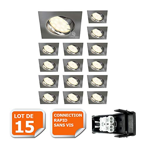 LOT DE 15 SPOT ENCASTRABLE ORIENTABLE LED CARRE ALU BROSSE GU10 230V eq. 50W BLANC NEUTRE