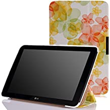 LG G PAD X 10.1 Funda - MoKo Ultra Slim Lightweight Smart-shell Stand Funda Con Auto Wake / Sleep para LG G Pad 2 (V940) / LG G PAD X 10.1 (4G LTE AT&T V930) 10.1 Inch Android 2015 Tableta, Floral VERDE