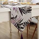jacquard tovaglie felpa Bandiera da tavolo morbido Tovagliolo in tessuto per caffè modello pianta scamosciato Nappa picco appeso abbassamento ( Color : Purple , Size : 32*160cm )