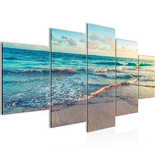 Bilder Meer Strand Wandbild 200 x 100 cm Vlies - Leinwand Bild XXL Format Wandbilder Wohnzimmer Wohnung Deko Kunstdrucke Blau 5 Teilig - MADE IN GERMANY - Fertig zum Aufhängen 015551a