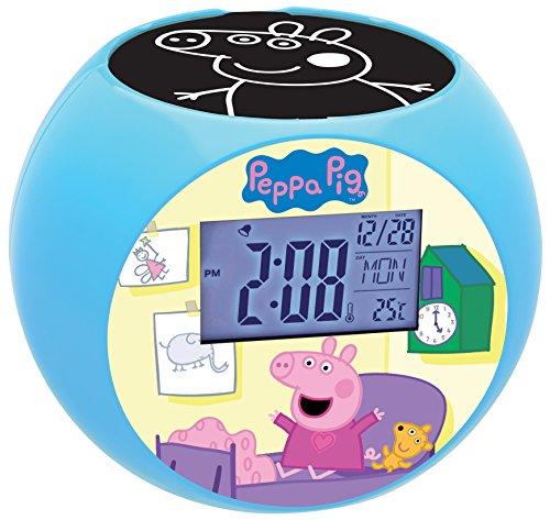 Peppa Pig - RL975PP Radio Reloj Despertador con Proyector De Imagen, Color Azul (Lexibook RL975PP)
