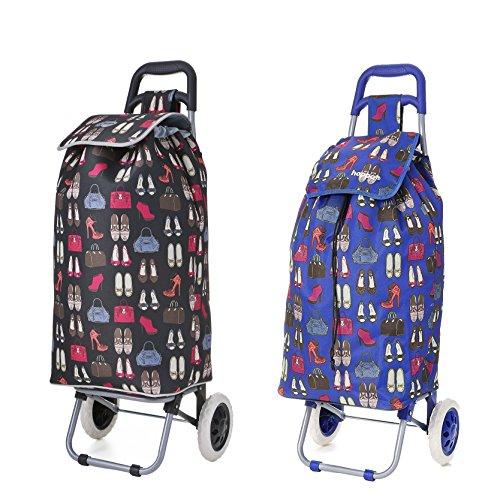 Set bestehend aus 2 Hoppa 23inch 2 Wheel Leichte Wheeled Shopping Trolley Shopper Wagen, Große 47L ((Taschen & Schuhe (Schwarz))) Blau + Schwarz