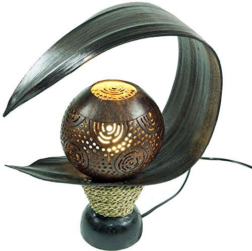 23a5a94c49f5e Guru-Shop Lampe de Table Feuilles de Palmier   Lampe de Table