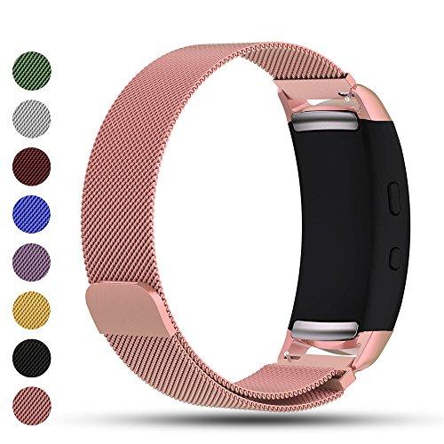 iFeeker Bracelet de rechange pour Smart Watch, fermoir aimanté, maille milanaise en acier inoxydable - compatible Smart Watch Samsung Gear Fit2SM-R360et Gear Fit 2PRO, rose gold
