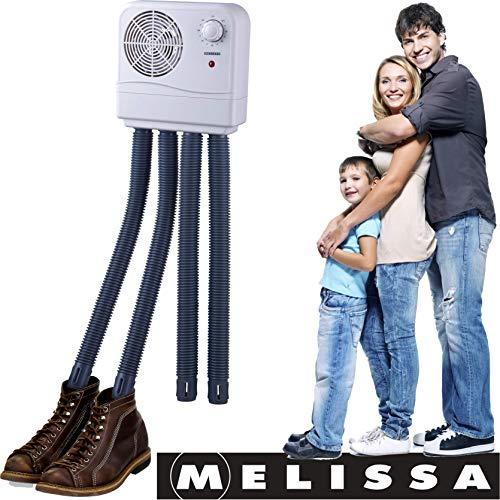 Melissa scaldino per scarponi asciugascarpe elettrico, per stivali, stivali di gomma asciugatrice per scarpe da trekking o anche Guanti da sci, Riscaldamento con ventilatore e timer 2 Paar Grau