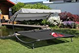 Leco Luxus Doppelliege + Dach + Kissen 2x2m anthrazit